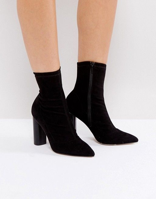 Office London Sock Heeled Ankle Boots Ad