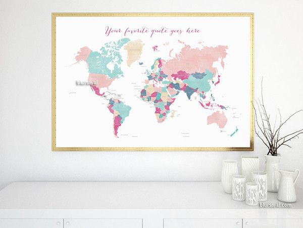 Custom quote printable world map with countries in girly colors find this pin and more on do it yourself solutioingenieria Images