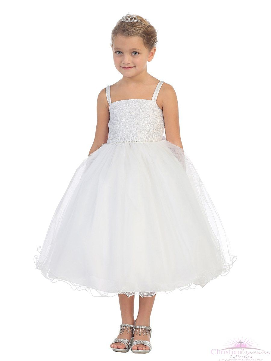 be0a1ab5f First Communion Dress Spaghetti Strap with Glitter Lace Bodice ...