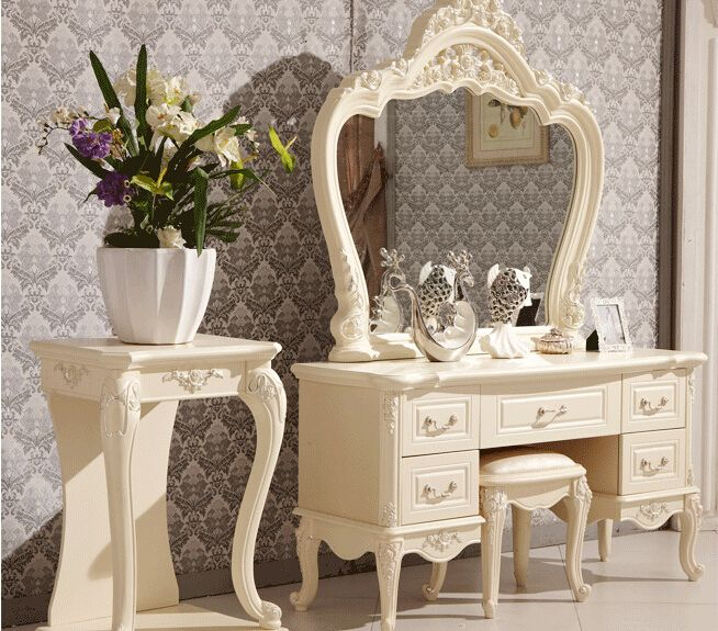 European Mirror Table Modern Bedroom Dresser French Furniture White French Dressing Table 3258 China
