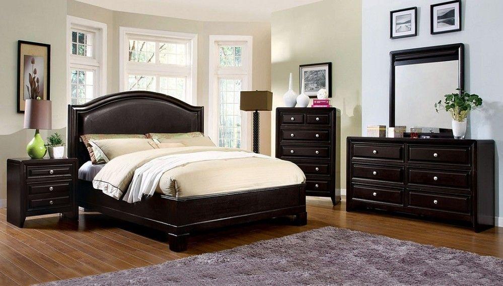 Cal King Windsor Espresso Solid Wood Leather HB Platform Bed ...