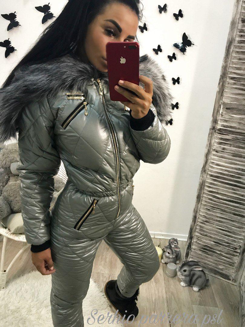 875d88eac5 Winter Ski Suit Shiny Nylon Womens Overall Skioverall Skianzug Glanznylon  Damen Jumpsuit Romper Outwear Snowboard Warm Silver Black Fur Hooded