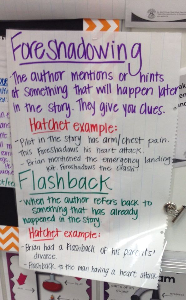Foreshadowing and flashback anchor chart (image only ...
