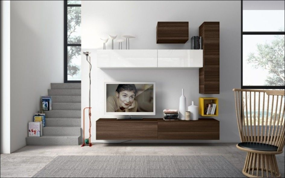 Furniture Contemporary Living Room Decorated With Creative Wall Units Plus Advanced Flat Screen Tv And