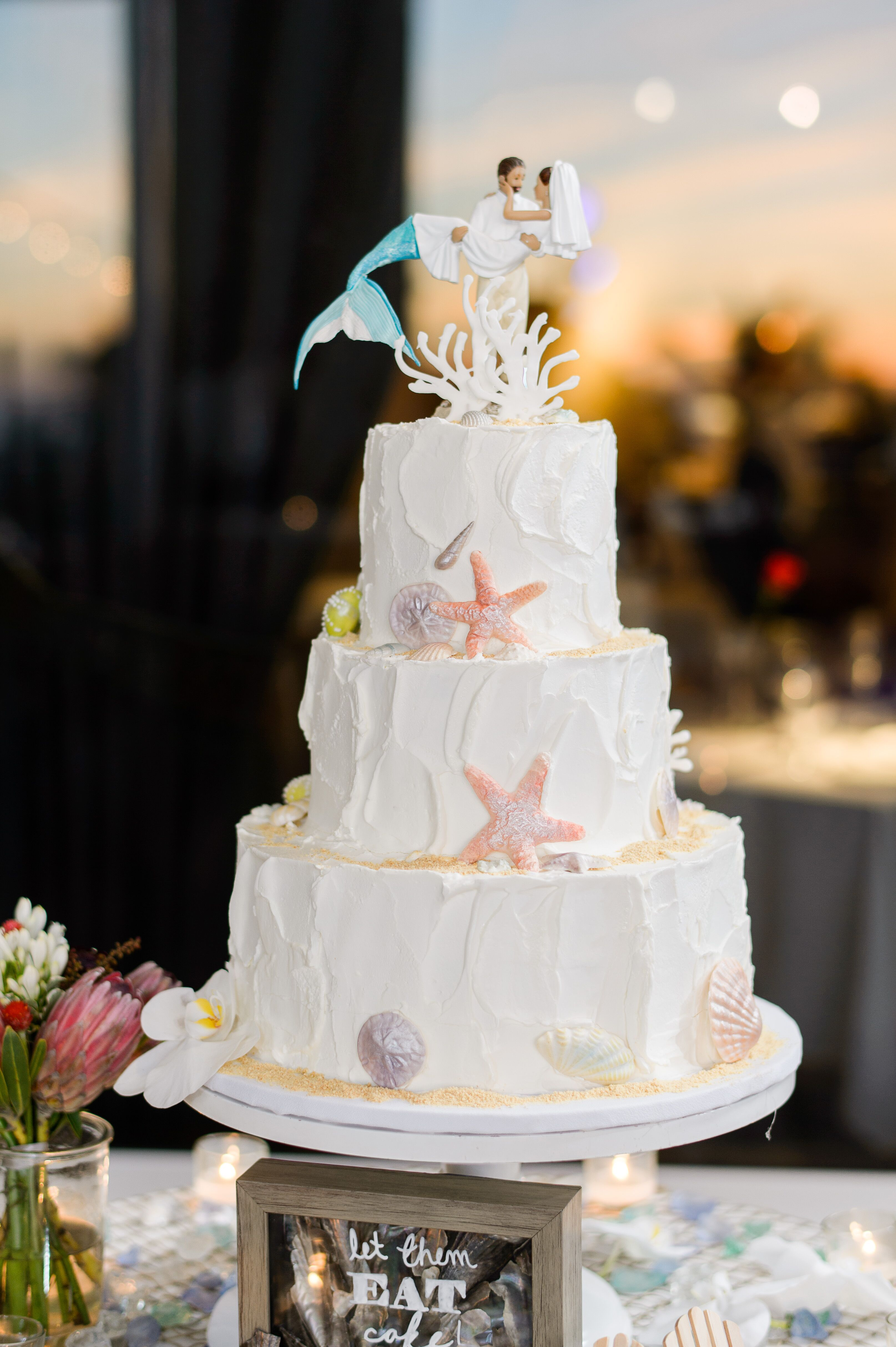 Beach Themed Wedding Cake With Mermaid Cake Topper In 2020 Beach Wedding Cake Toppers Beach Theme Wedding Cakes Beach Wedding Cake