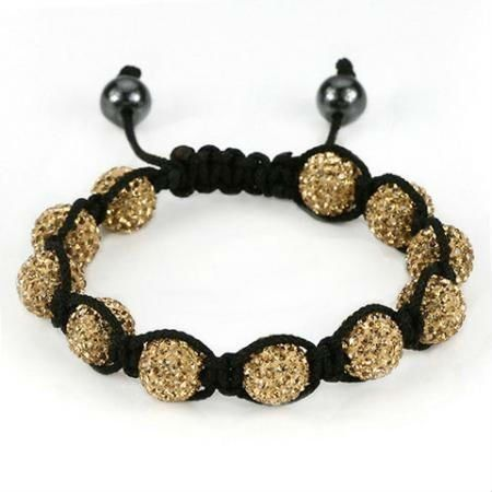 Gold Unisex Shamballa Bracelet Crystal Disco Ball Friendship Bead Swarovski Crystals Bead Beaded Bracelets Shamballa Bracelets Crystal Beads Bracelet