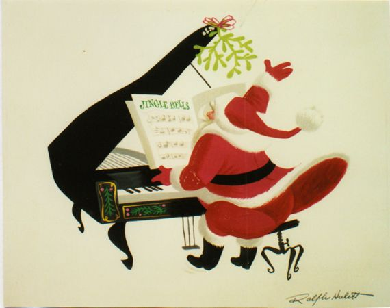 Santa on the piano by Ralph Hulett (image no longer on link)