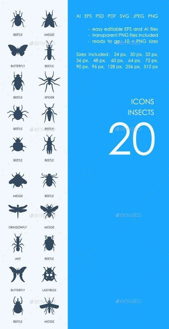 Insects icons by PalauDesign | GraphicRiver | Icon Art