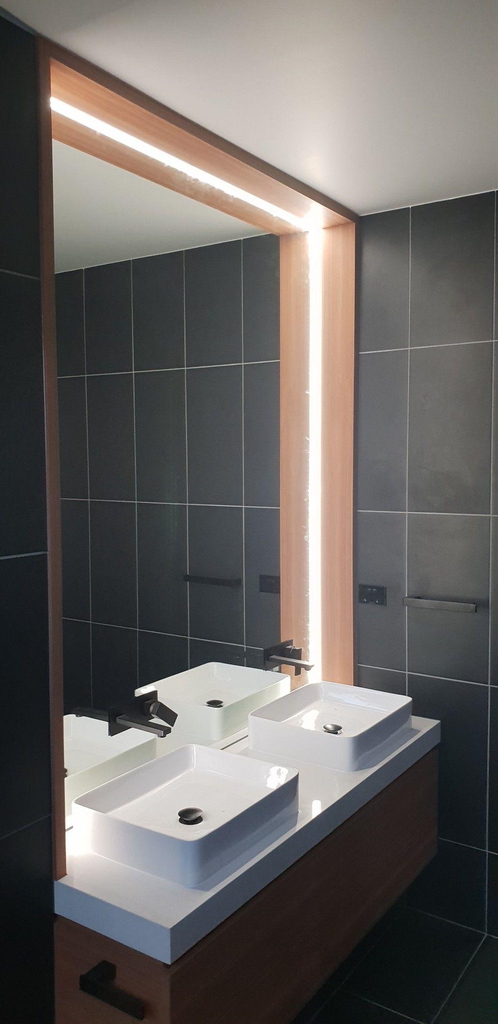 Ensuite Mirror Black Fittings And Led Strip Lighting Strip Lighting Bathroom Design Inspiration Bathroom Design