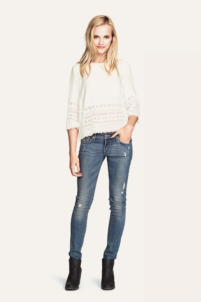 Casual and cool in a white top with lace detail. HM. #HMDIVIDED