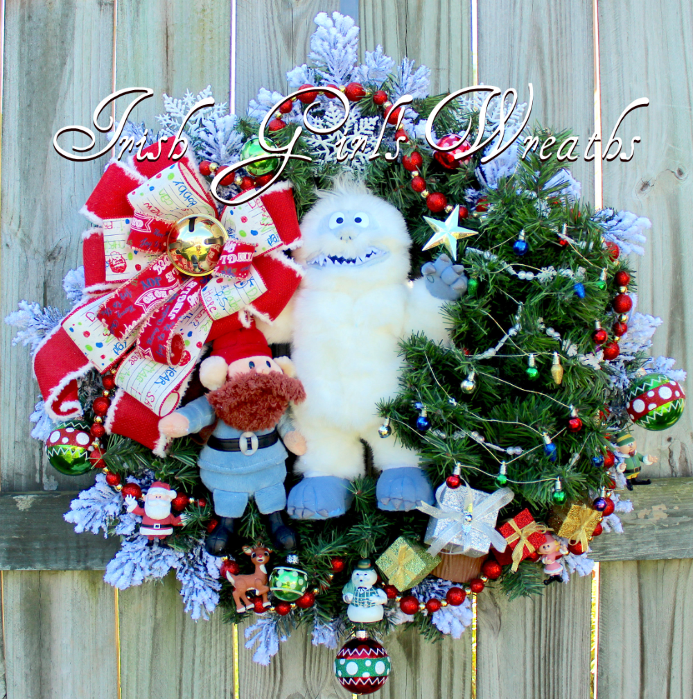 Bumble The Abominable Snow Monster Christmas Wreath Sam The Snowman Santa Elves Rudolph Re In 2020 Christmas Wreaths Christmas Tree Wreath Christmas Tree Decorations