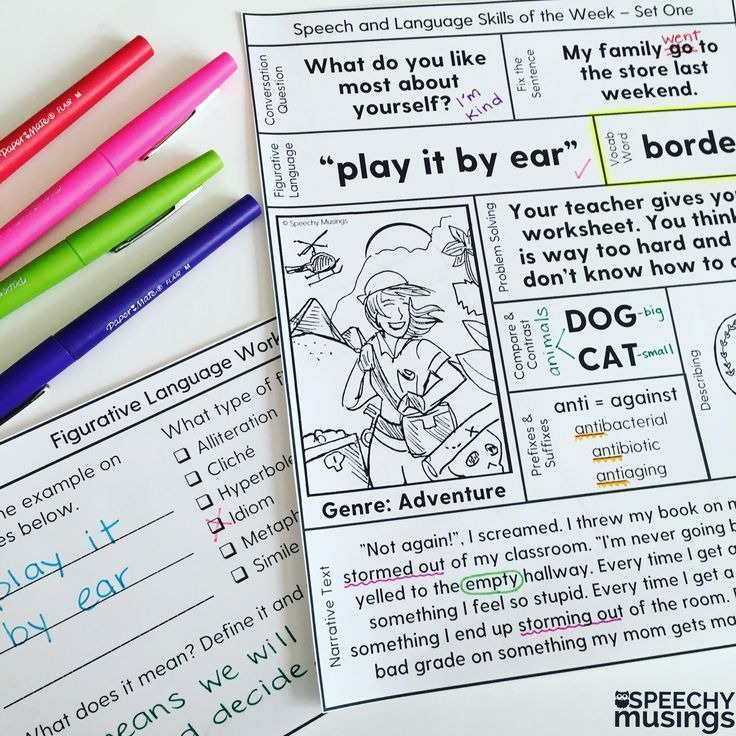 One page language lessons! All of the speech therapy targets you need for a week of therapy! Includes quizzes, worksheets, games and more! From Speechy Musings.