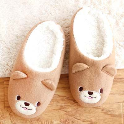 dfeeaf375faf Adorable Teddy Bear Animal Shaped Slip-On Slippers for Women in Brown