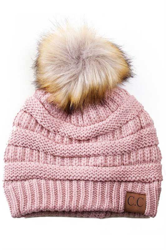 ad21f0f5187 CC Beanie Cable Knit Beanie with Pompom in Indie Pink