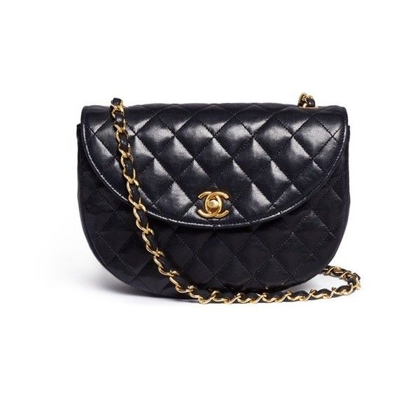 7fa6a8bb72a03e Vintage Chanel Quilted leather half moon flap bag (4,795 CAD) ❤ liked on Polyvore  featuring bags, handbags, borse, black, chanel bags, quilted flap bag, ...