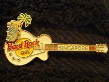 Hard Rock Cafe Singapore White Les Paul Guitar Pin w/ Merlion & Palm Tree L.E.