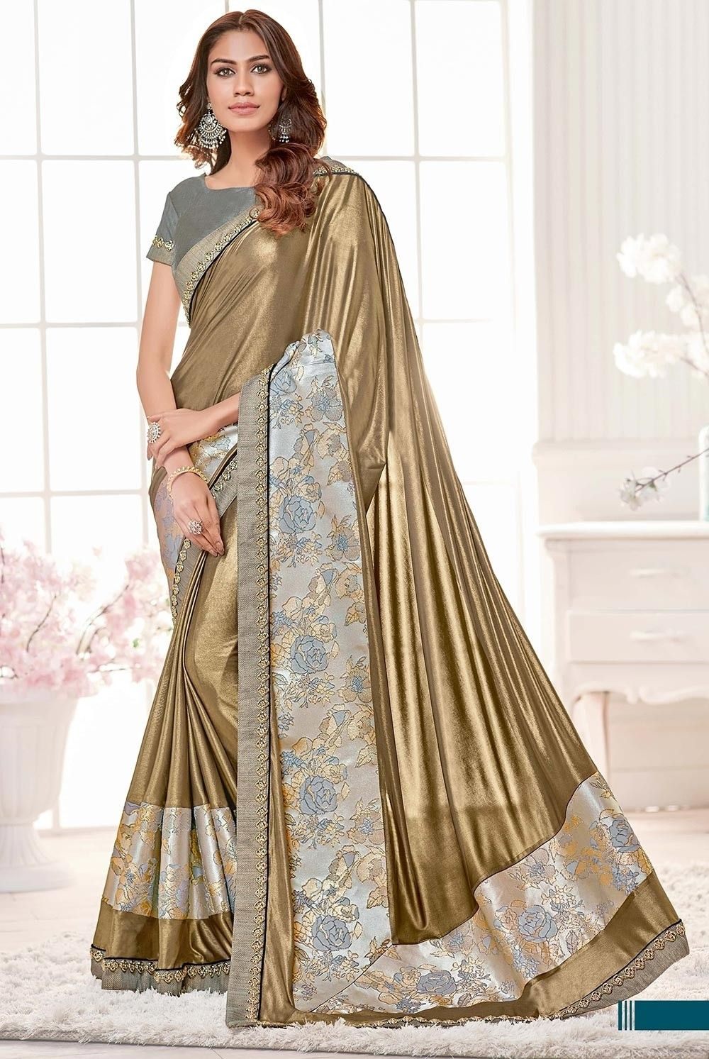 d2aeaf6eef Gold Saree, Lycra Saree, ₹4,860.00. Buy latest Saree with custom stitching  and worldwide shipping.