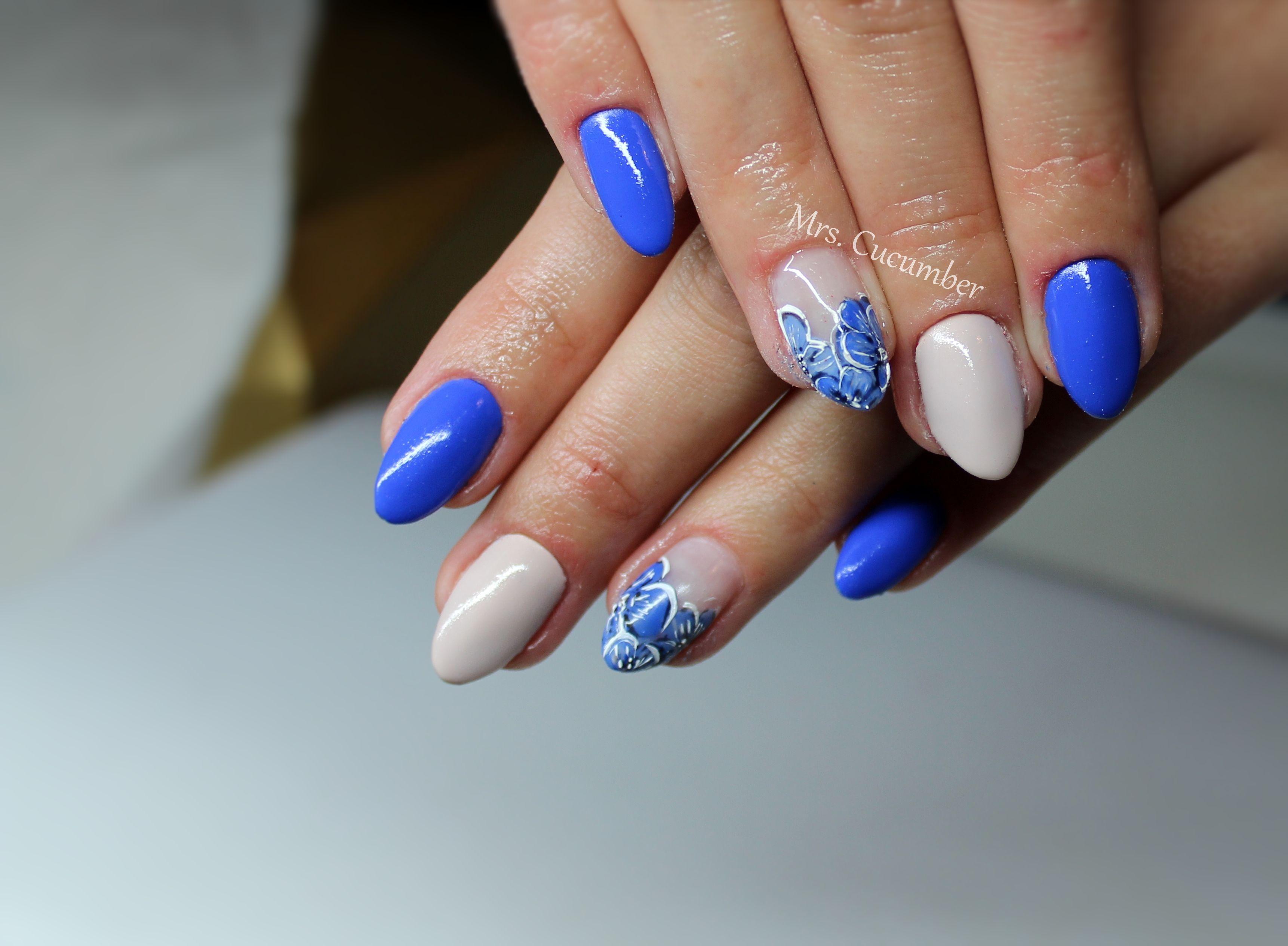 Paznokcie Niebieskie Kwiaty Wiosenne Paznokcie Nails Beauty