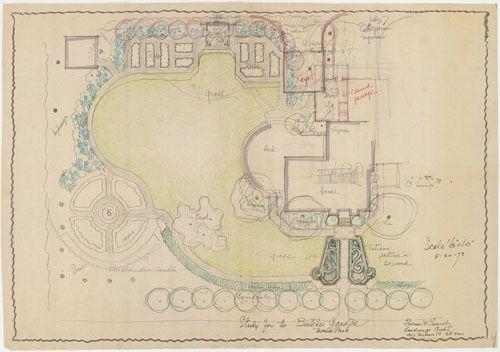 Thomas Church Garden Design For Home In Menlo Park Landscape Architecture Design Plan Sketch Landscape Plans
