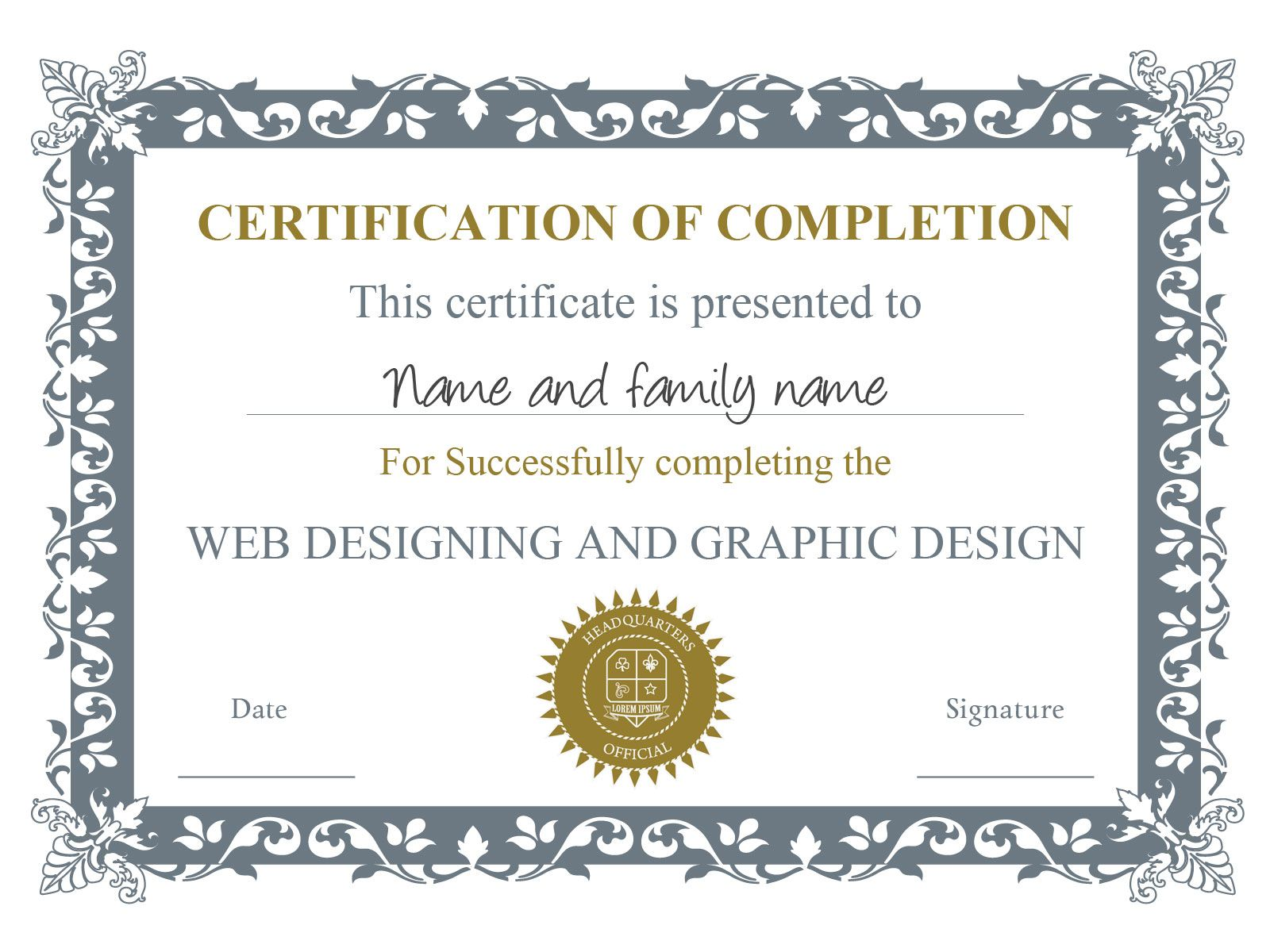 Example Certificate Template, you can download this one, and others ...