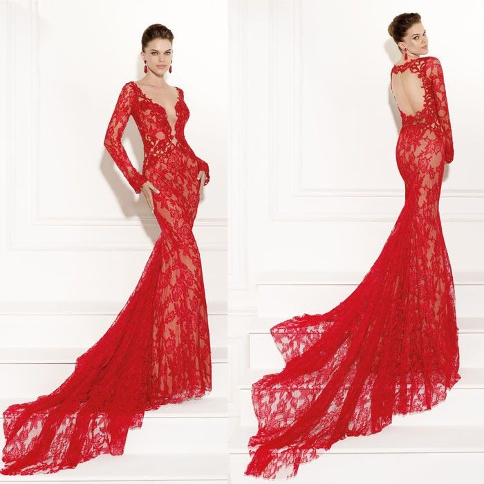 Tarik Ediz Long Red Dress 2015 Newest Christmas Mermaid Evening ...
