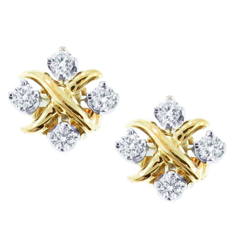 Diamond Yellow Gold X Earrings