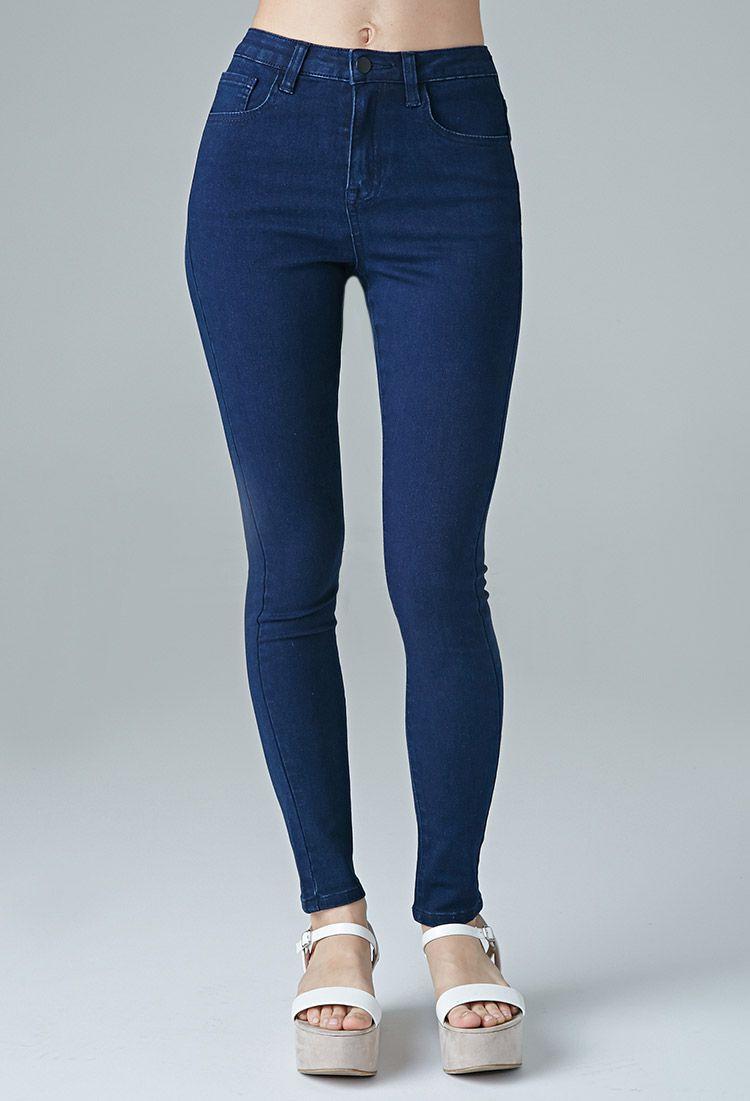 Jeans Skinny Tiro Alto Lavado Uniforme Mujer Lo De