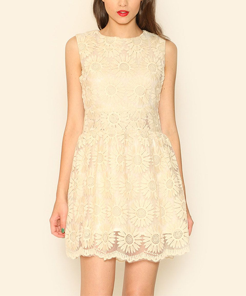 Love this Pepaloves Beige Lace Fit & Flare Dress by Pepaloves on #zulily! #zulilyfinds