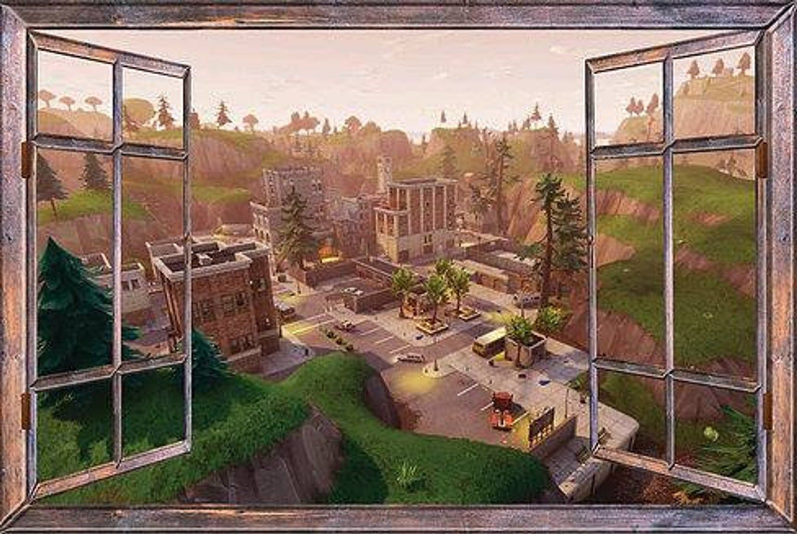 Window with a View Fortnite Tilted Towers Wall Mural Brown ...