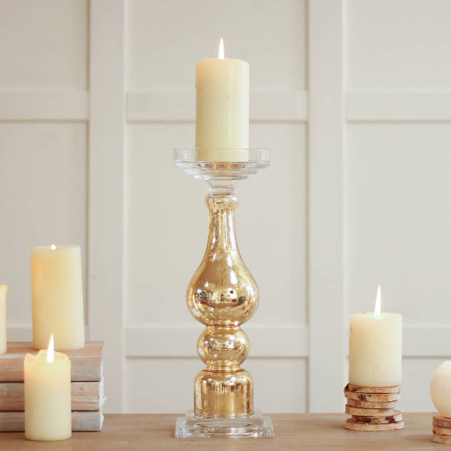 Freestanding crackle gold pillar candle holder candle holders
