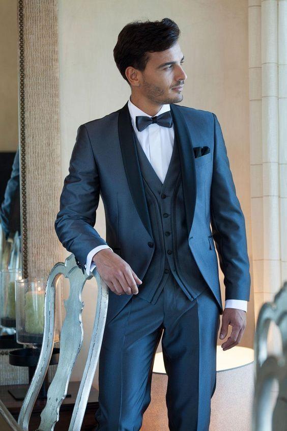 2017 Latest Coat Pant Designs Navy Blue Satin Men Wedding Suit ...