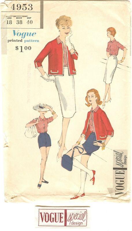 Vogue 4953 Jacket, Skirt, Blouse Still in Factory Folds. $18.95