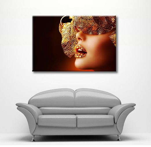 Large framed canvas fantasy wall art mask lips girl picture stunning ...