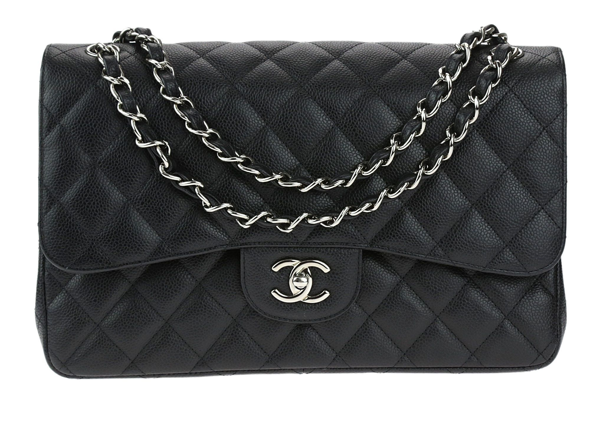 c9f0f73382a061 This Chanel Black Caviar Jumbo Double Flap Bag will easily become your go  to bag.
