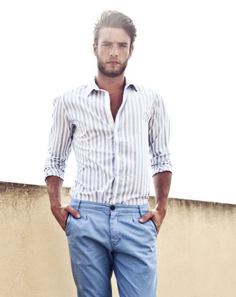 Gaspard Menier. striped button up with light blue chinos ...