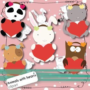 Valentine S Day Clipart Baby Animals Holding Hearts Valentines Day Clipart Baby Clip Art Clip Art