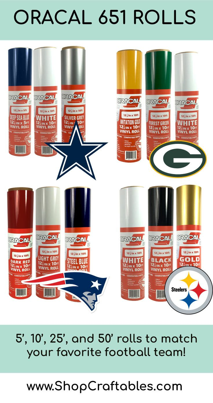 Oracal 651 Vinyl Rolls That Match Your Favorite Football Team Cricut Vinyl Vinyl Rolls Vinyl