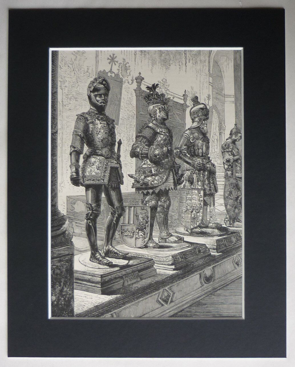 1880s Antique Print of Statues at the Tomb of Roman