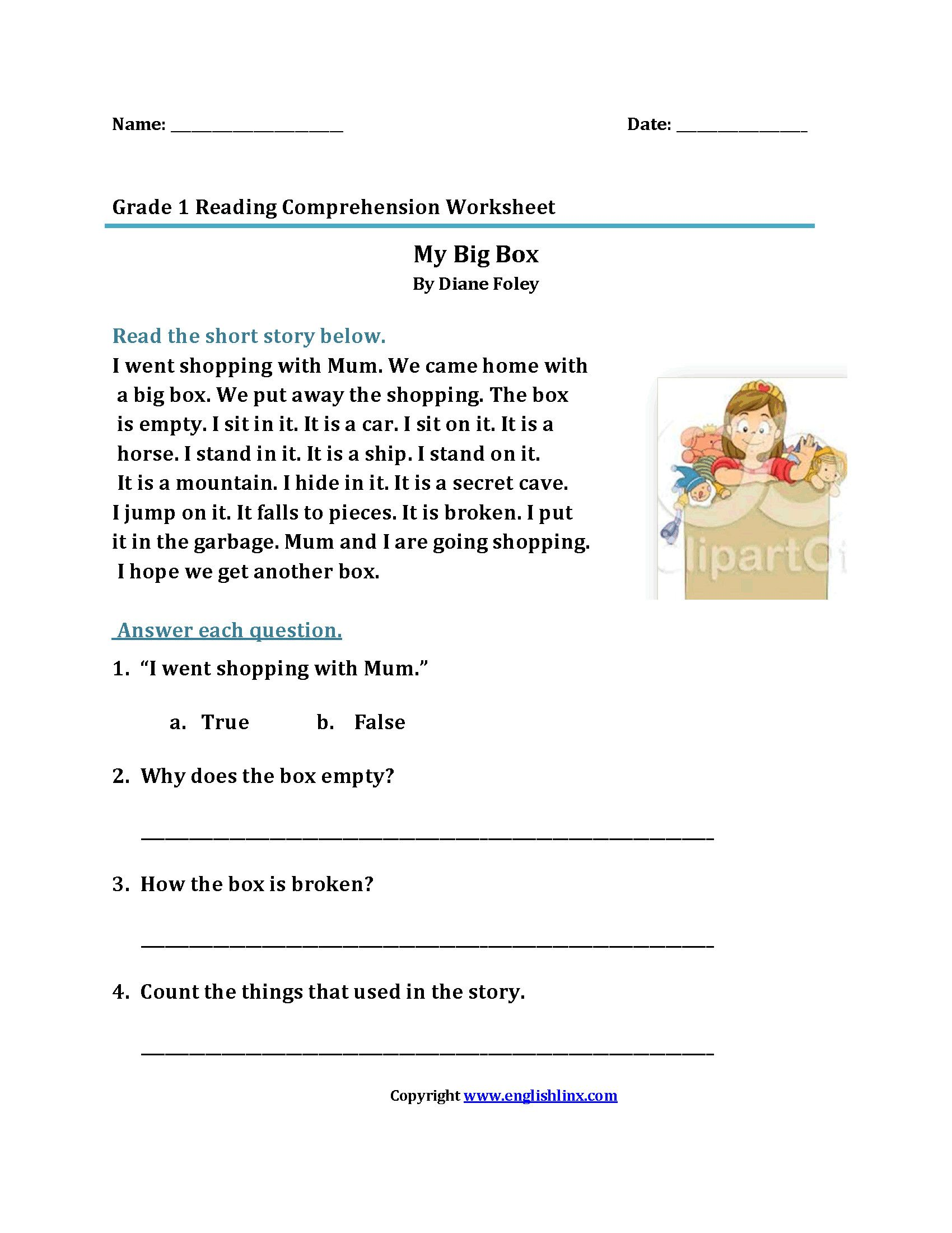Reading Worksheets For 1st Grade In