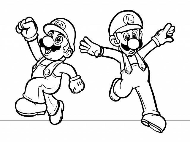 Supermario E Luigi Da Colorare.Super Mario Bros E Luigi Personaggi Dei Videogiochi Disegno Da