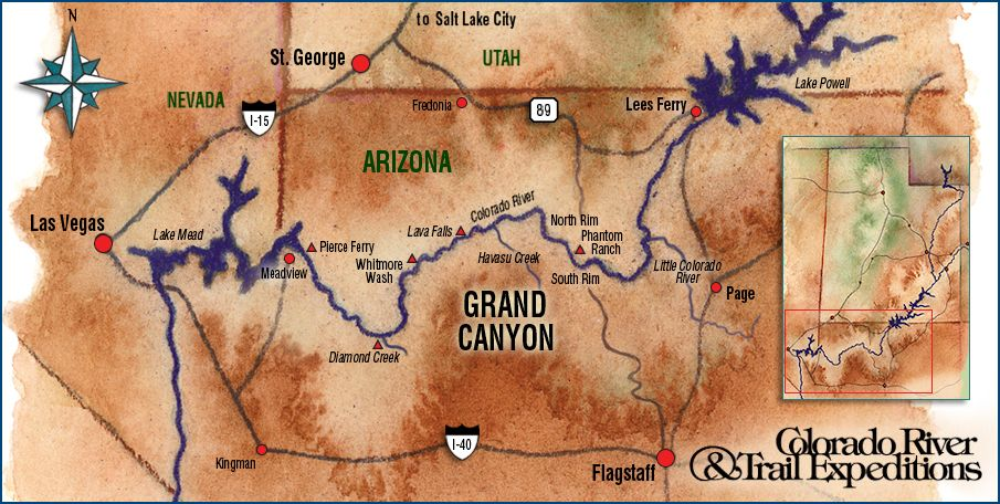 Grand Canyon Whitewater Rafting Map with Whitmore Wash Lees