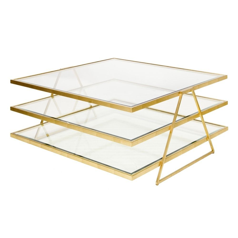 3 Tiered Gold Leafed Coffee Table With Beveled Glass Shelves Jonathan Coffee Table Gold By Worlds Coffee Table Square Coffee Table Modern Square Coffee Table