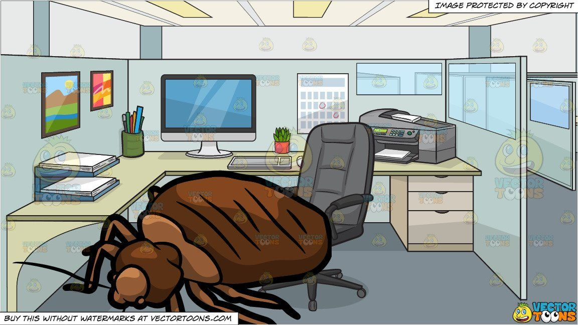 A House Bed Bug and An Office Work Cubicle Background