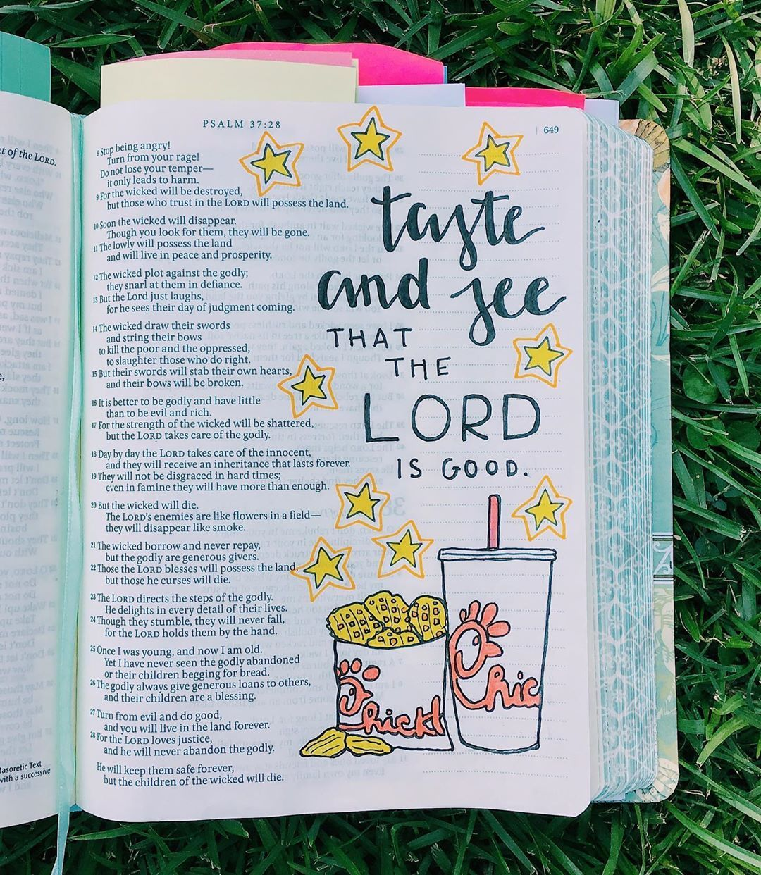 "✰ Kaley's Bible Journaling ✰ on Instagram: ""taste and see that the lord is good { psalm 34:8 } ; during church this morning I was thinking of some new verses to do some bible…"""