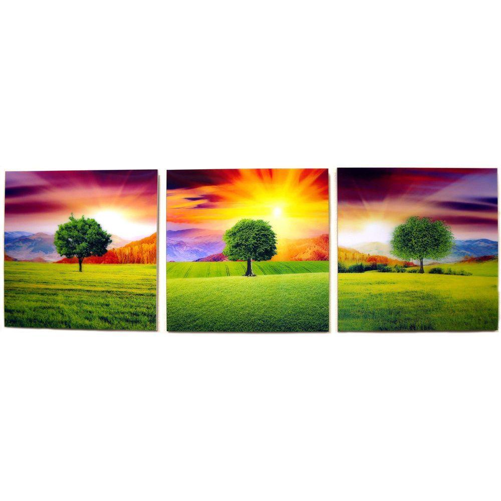 Amaco 'Summer Trees' 3-panel Art