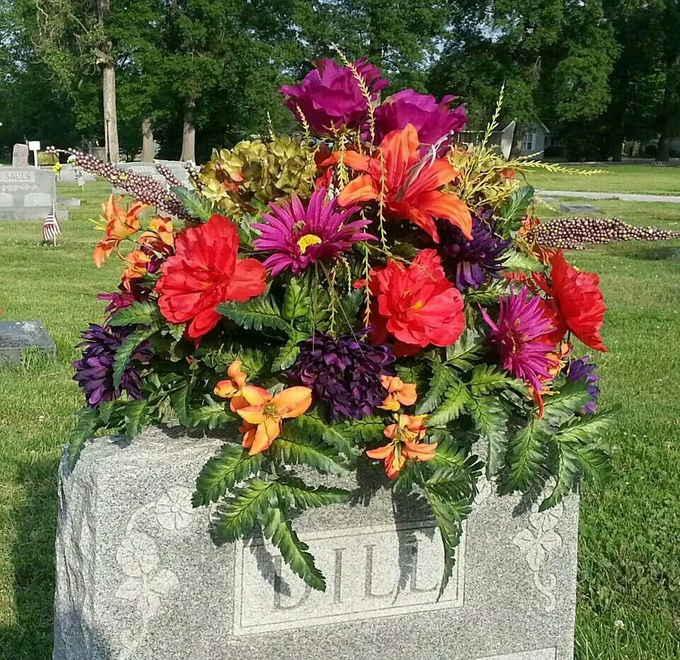 10-DOUBLE SADDLE-Memorial Cemetery Flower Headstone Tombstone no Floral foam