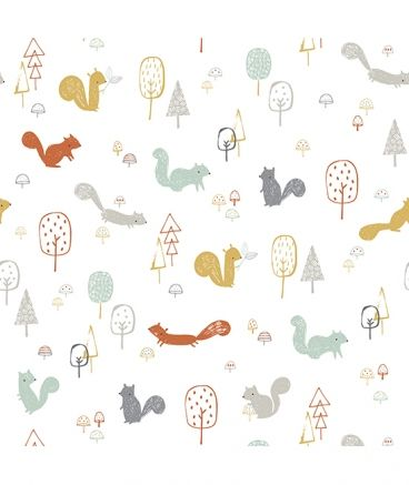 Papier peint enfant forêt Woodland Wallpaper illustration