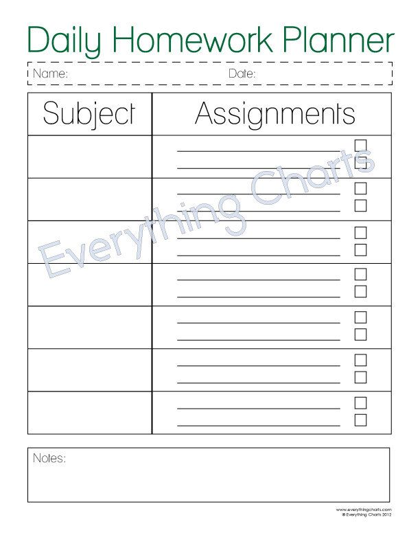 Daily Homework Planner  Pdf FilePrintable By Everythingcharts On