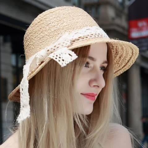 Lace splicing bow straw sun hats for women uv protection effect hats ... 0e8d0c300637