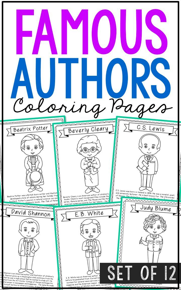 12 Famous Authors Coloring Page Crafts or Posters with Informational ...